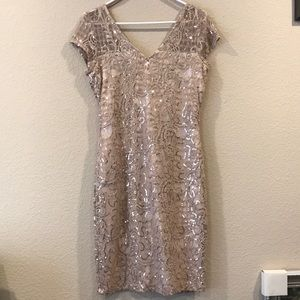Sequin-embroidered Lace Sheath Dress